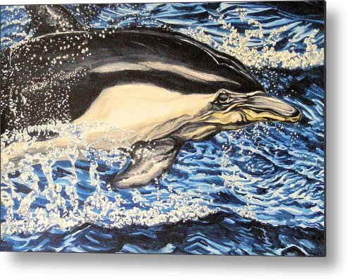 Dolphin Metal Print featuring the painting Dolphin Blue by Donald Dean