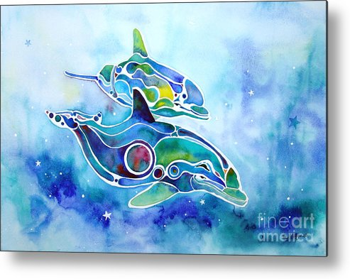 Dolphins Metal Print featuring the painting Dolphins Dance by Jo Lynch