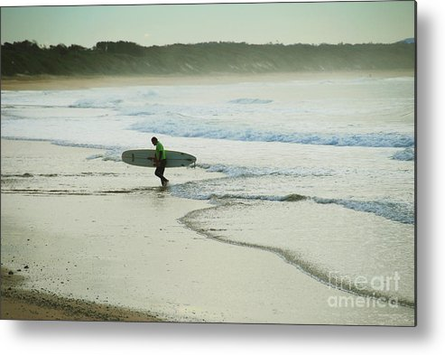 Wave Metal Print featuring the photograph Done For The Day by Joe Scoppa