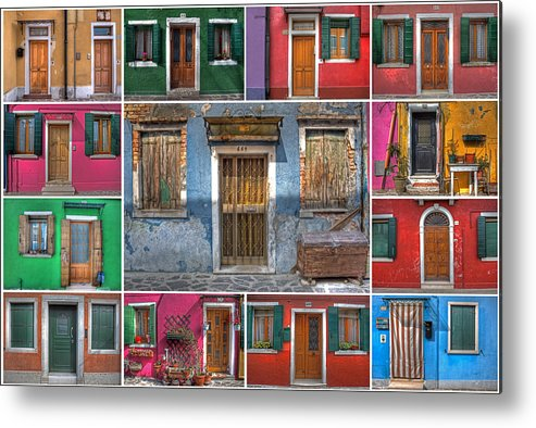 Travel Metal Print featuring the photograph doors and windows of Burano - Venice by Joana Kruse