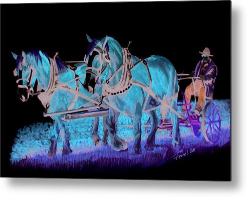 Horses Metal Print featuring the painting Draft Horses by Ferrel Cordle