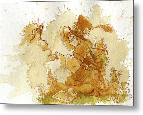 Steampunk Metal Print featuring the painting Dress Up by Brian Kesinger
