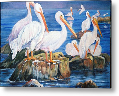 Pelicans On The Louisiana Jetties Metal Print featuring the painting Drippin Wet by Anne Dentler