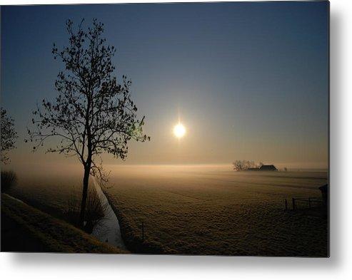 Dawn Metal Print featuring the photograph Dutch Farm At Dawn by Hans Kool