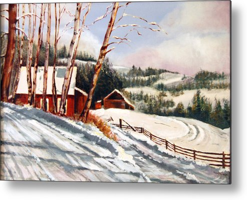 Snow Metal Print featuring the painting Elephant Mountain Ranch by Susan Moore