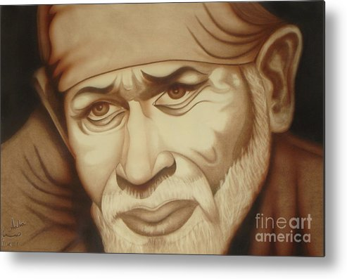 Sai Baba Metal Print featuring the painting Enlightenment by Saba Aghajan