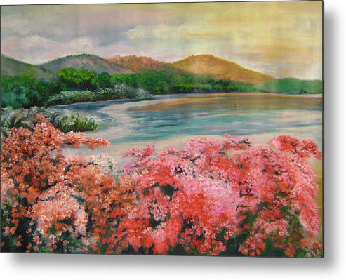 Floral Metal Print featuring the painting Evening Flowers by Lian Zhen