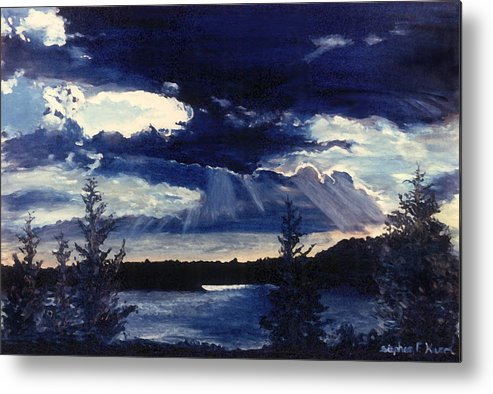 Landscape Metal Print featuring the painting Evening Lake by Steve Karol