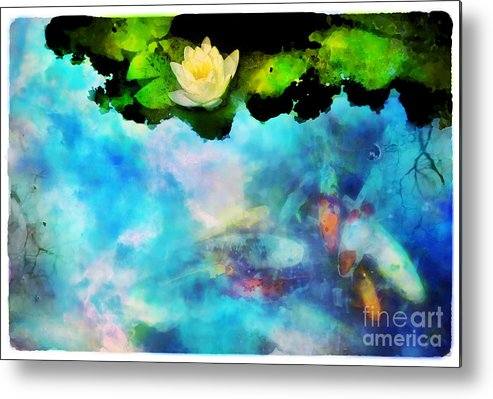 Koi Metal Print featuring the photograph Evening Reflections by Gina Signore