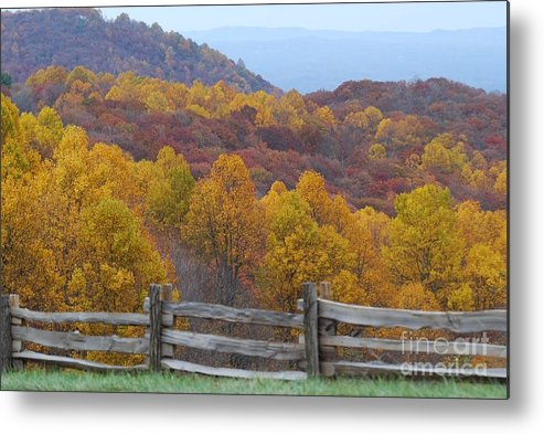 Fence Metal Print featuring the photograph Fall Blend by Eric Liller