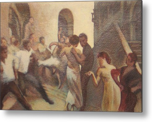 Dancing In The Street Metal Print featuring the painting Fiesta Espanola by James LeGros