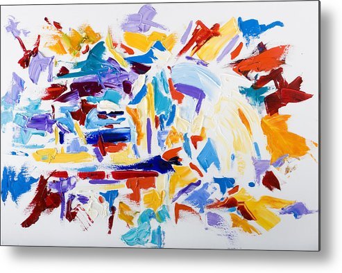 Abstract Yellow Metal Print featuring the painting Fiesta by Shannon Grissom