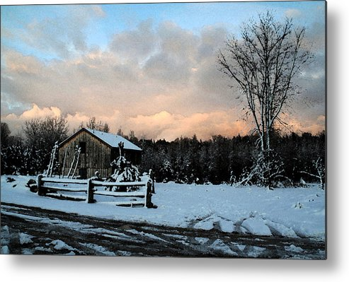 Landscapes Metal Print featuring the photograph First Snow by Linda Joyce Ott