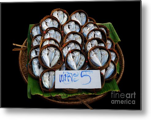 Fish Banana Leaf Thailand Culture Color Bamboo Bucket Metal Print featuring the photograph Fishs In Three by Ty Lee