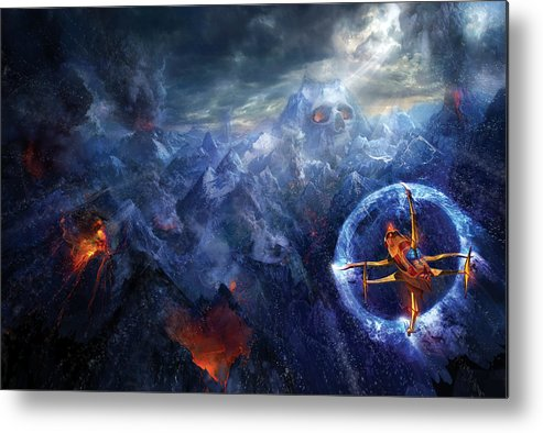 Philip Straub Metal Print featuring the painting Flight Of The Dying Sun by Philip Straub