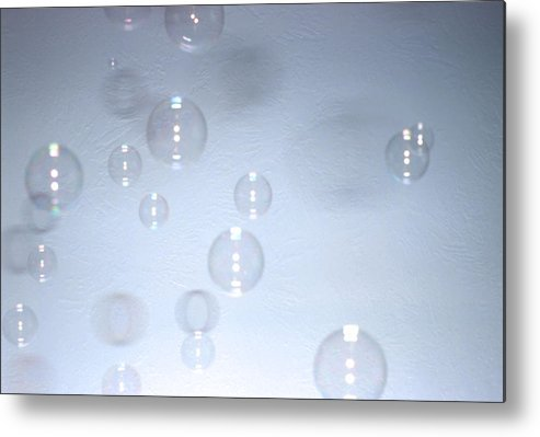 Bubbles Metal Print featuring the photograph Floating Bubbles Abstract 1 by Steve Ohlsen