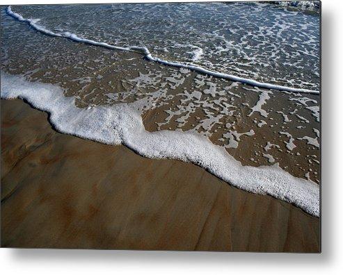 Beach Sand Wave Waves Foam Foamy White Sunny Clear Water Ocean Metal Print featuring the photograph Foamy Water by Andrei Shliakhau