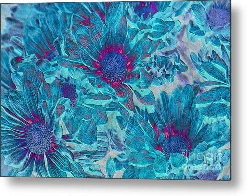 Daisies Metal Print featuring the digital art Foulee De Petales - A01t by Variance Collections