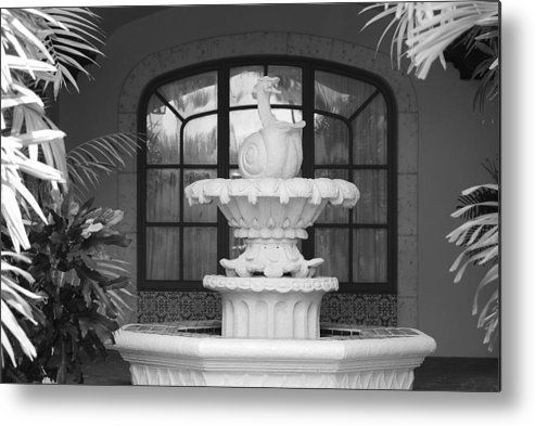 Architecture Metal Print featuring the photograph Fountian And Window by Rob Hans