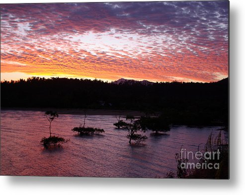 Landscape Metal Print featuring the photograph Four Elements Sunset Sequence 3 Coconuts Qld by Kerryn Madsen - Pietsch