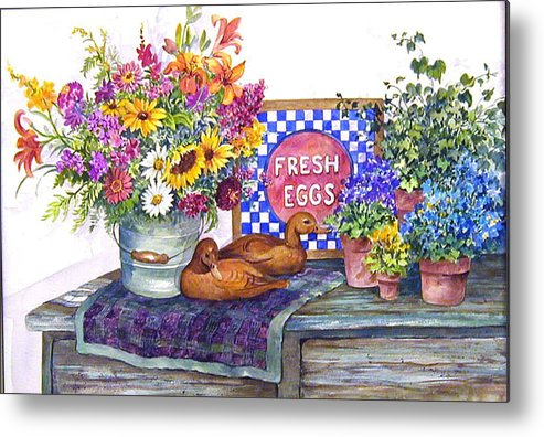 Watercolor;ducks;decoys;floral;mixed Bouquet;potted Plants;checkerboard;quilt; Metal Print featuring the painting Fresh Eggs by Lois Mountz