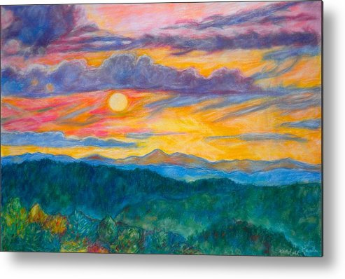 Landscape Metal Print featuring the painting Golden Blue Ridge Sunset by Kendall Kessler