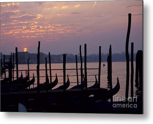 Venice Metal Print featuring the photograph Gondolas In Venice At Sunrise by Michael Henderson