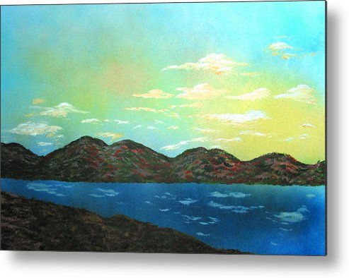 Landscape Morning Lake Mountains Metal Print featuring the painting Good Morning Sunshine by Ed Moore