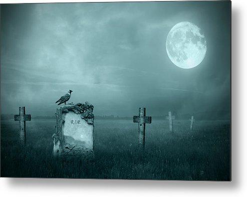 Ancient Metal Print featuring the photograph Gravestones In Moonlight by Jaroslaw Grudzinski