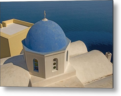 Greek Island Metal Print featuring the photograph Greek Island Dome by Charles Ridgway