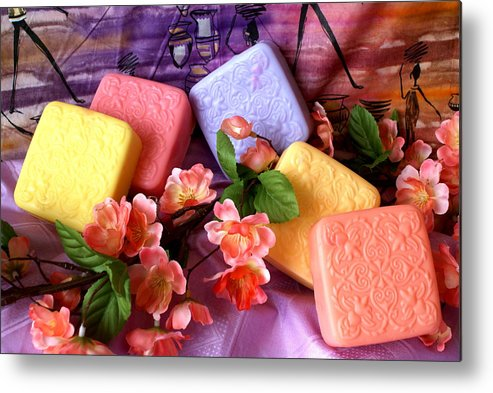 Product Metal Print featuring the photograph Guest Soaps by Sonja Anderson