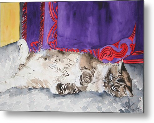Cat Metal Print featuring the painting Guilley by Jean Blackmer