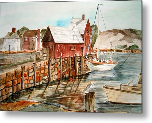 Original Art Metal Print featuring the painting Harbor Scene New England by K Hoover