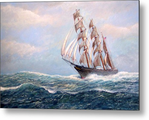 Tall Ships. Marine Art Metal Print featuring the painting Headin' Home by William H RaVell III
