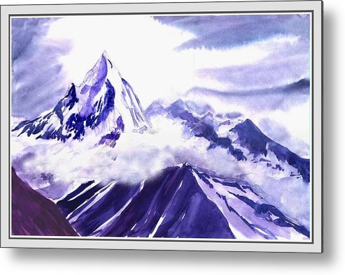 Landscape Metal Print featuring the painting Himalaya by Anil Nene