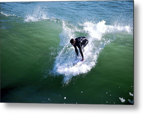 Water Metal Print featuring the photograph Hitting The Wave by Gerald Carpenter