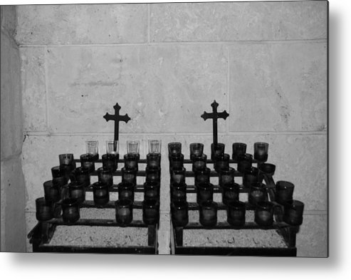 Black And White Metal Print featuring the photograph Holy Candles.... by Rob Hans