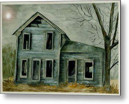 Landscape Watercolor House Ruin Moon Trees Sky Metal Print featuring the painting Home Sweet Home by Brenda Owen