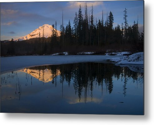Mt. Hood Metal Print featuring the photograph Hood Alpenglow by Mike Dawson