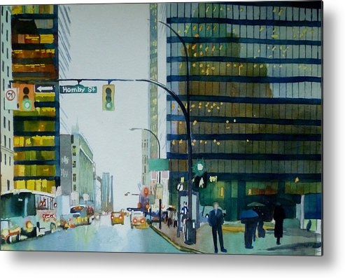 Vancouver Metal Print featuring the painting Hornby Street by Sandrine Pelissier