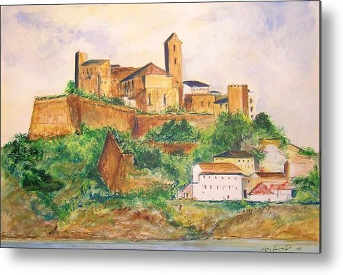 Landscape Metal Print featuring the painting Ibiza Old Town Unesco Site by Lizzy Forrester