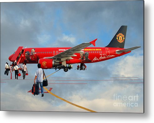 Photography Sky Airplane Passenger People Football Stars Metal Print featuring the photograph In The Sky by Ty Lee