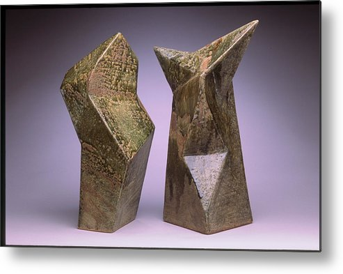 Slab Built Cone 6 Stoneware Metal Print featuring the sculpture Interrelated Forms by Stephen Hawks