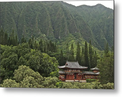 Oahu Metal Print featuring the photograph Japanese Temple by Michael Peychich