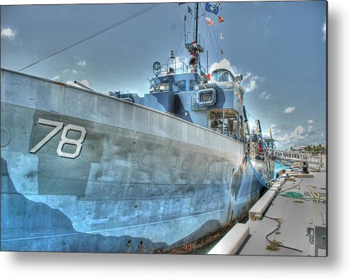 Key West Metal Print featuring the photograph Key West Navy Ship by Roger And Michele Hodgson
