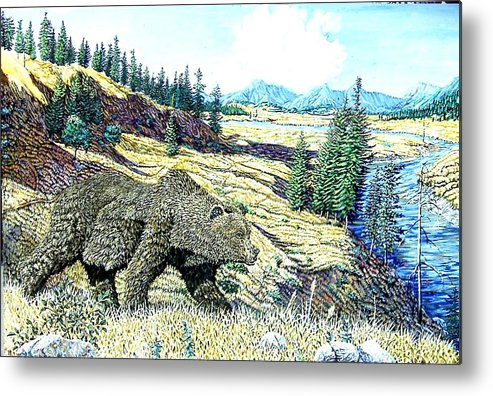 Wildlife Metal Print featuring the painting Lamar Valley Grizz by Wayne Monninger