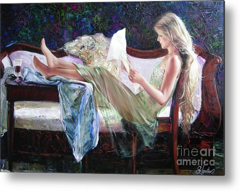 Figurative Metal Print featuring the painting Letter From Him by Sergey Ignatenko