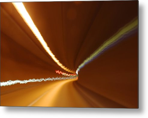 Tunnel Metal Print featuring the photograph Light Streaks In Tunnel by Evgeny Ivanov