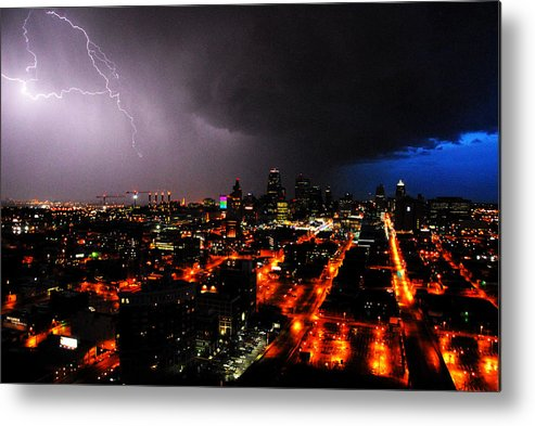 Night Metal Print featuring the photograph Lighting Over Kansas City by Steven Crown
