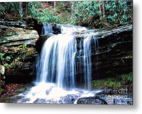 West Virginia Metal Print featuring the photograph Lin Camp Branch Waterfall 1983 by Thomas R Fletcher